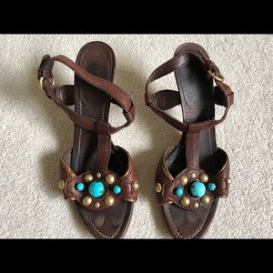 Miu Miu Embellished Brown Lthr Sandals Heels